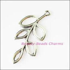 5Pcs Antiqued Silver Tone Branch Leaf Circle Charms Pendants 18.5x41mm