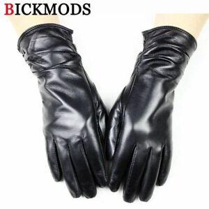 Velvet Lining Leather Gloves 28m Long Winter Sheepskin Fashion Glove For Women
