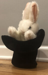 Folkmanis Puppet Rabbit in Top Hat Plush Hand Bunny Magic Trick Pretend Play Toy