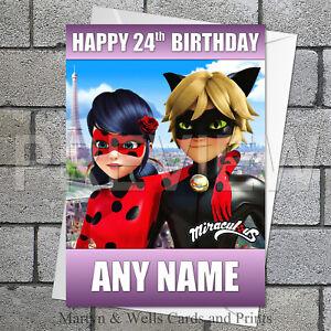 Miraculous birthday card. 5x7 inches. Ladybug & Cat Noir. Personalised +envelope