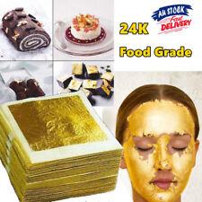 10x 24k Edible Pure Genuine Gold Foil Leaf Sheet Food Cake Face Mask Gilding