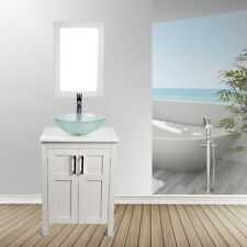 "24"" White Bathroom Vanity Cabinet Mirror Vessel Glass Sink W/ Faucet Drain Combo"