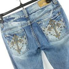Guess Jeans Women Jeans Size 30 Daredevil Bootcut Bling Pockets Raw Hem