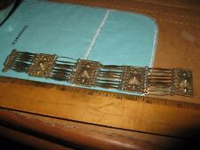 """7 1/2"""" Taxco Sterling Silver & Gold Pyramid Panel Bracelet"""