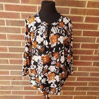 Collective Concepts Women's Size L Floral Blouse Stitch Fix Black White Orange