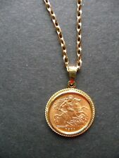 More details for george v 22k gold half sovereign 1911 coin in pendant mount with gold 22