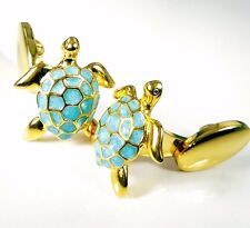 SEA TURTLE CUFFLINKS, ENAMEL, STERLING, GOLD.  G.DANILOFF&CO.