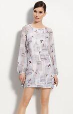 Ted Baker White Birdcage Print Sequin Embellished Long Sleeved Dress size 0 UK 6