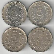 4 DIFFERENT 5 RUPEE COINS from INDIA (ALL 1995 with MINT MARKS of B/C/H/N)