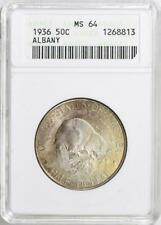 1936 Albany Commemorative Silver Half Dollar - ANACS Mint State 64