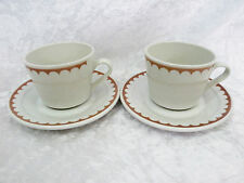 Bristile / Wembley ware - 2 Cups & Saucers  vgc  brown scalloped edge band