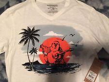 New True Religion Brand Jeans Men's BEACH Buddha V Neck Tee Shirt White Sz XXL