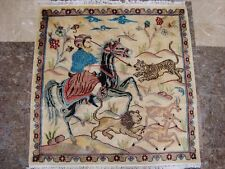 HUNTING KING LION DEER TIGER HORSE SQUARE HAND KNOTTED RUG CARPET 3x3 FB-2718