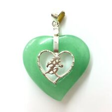 New Jade and 925 Sterling Silver Pendant Heart Love