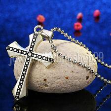 New Unisex's Men Black Silver Stainless Steel Cross Pendant Necklace Chain Gift