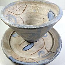 Stoneware Pottery Shino Glazed Wabi Sabi Flared Bowl And Plate Primitive Design