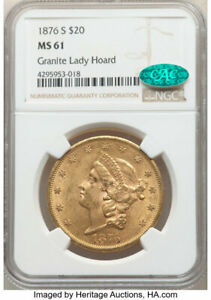 1876-S $20 GOLD LIBERTY EAGLE NGC MS61 *CAC SCARCE MS-61 *CAC GRANITE LADY HOARD