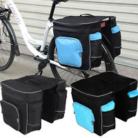 Safe&Easy Ride Bicycle Double Pannier Bag 37L Cycle Travelling Rear Rack Black