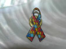 Estate Red Yellow & Blue Enamel Puzzle Piece Autism Ribbon Silvertone Tie Tac Ha