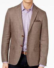 Lauren Ralph Lauren Blazer Size 40L Men Linen Suit Jacket Brown Houndstooth
