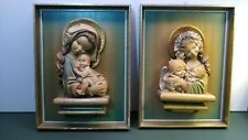 """Pair of Anri Carved Wall Plaques by Juan Ferrandiz """"Madonna with Children"""""""