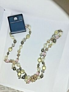 Dorothy Perkins White Gold Lilac round beaded Necklace silver eyepin chain