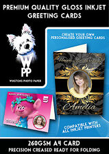 A4 Glossy Inkjet Greeting Cards Premium Quality 260gsm 25 pack