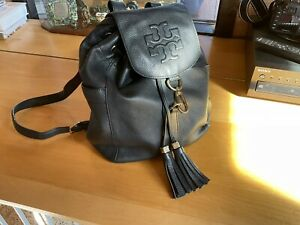 TORY BURCH BLACK LEATHER BACKPACK-PRE-OWNED
