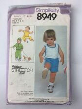 Simplicity 8949 Vintage Toddler Stretch Knit Sewing Pattern from 1979 sz 1/2,1,2