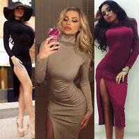 Womens High Neck Elegant Long Sleeve Bodycon Thigh Slit Evening Midi Club Dress