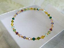 Plaqué or vert & violet Swarovski Cristaux Bracelet Lot De 3-fait main