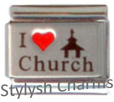 CHURCH I LOVE CHURCH RELIGION RELIGIOUS RH Laser Italian Charm 9mm-1x RE032 Link