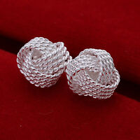 Ladies 925 Sterling Silver 10MM Love Mesh round Knot Stud Earrings Jewelry A005