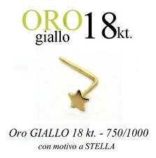 Piercing da naso in ORO GIALLO yellow gold 18kt. con STELLA LISCIA with STAR