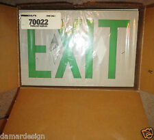 ☆ NEW PRESCOLITE PROFILE Lighted EXIT Sign TWIN FACE 20V Universal Mount Green