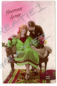 RPPC tinted real photo French fashion romance lovers Happy New Year artist #