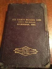 Vintage Lee County National Bank Leather Metal Book Coin Bank, Marianna Arkansas