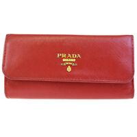 Authentic PRADA MILANO Logos Six Hooks Key Case Leather Red Gold Italy 07ED878