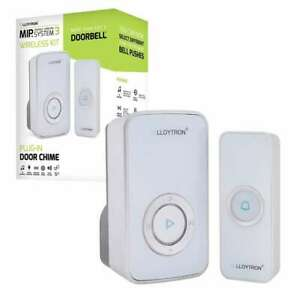Lloytron MIP3 Wireless White Door Bell Chime Set: Kit/ Receiver/ Transmitter
