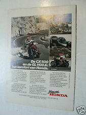 A076- HONDA CX500 AND GL1100 A GOLD WING MOTORCYCLE ADVERTISEMENT 1980