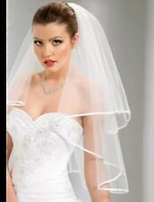 White Bride Wedding Veil 2 Layers with Comb Elbow Length Ribbon Edge