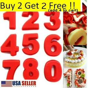 0-8 Digital Number Silicone Cake Tins Mold Birthday Decor Baking Tray Mould USA