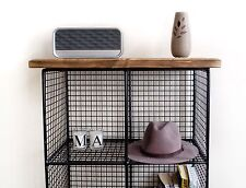 Industrial Pigeon Hole Wire Shelf Bookcase Reclaimed Wood Urban Tall Standing