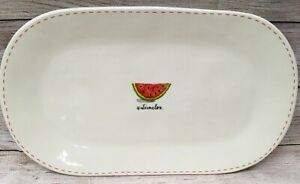 Retired Rae Dunn Watermelon Artisan Collection Magenta Platter Oblong Ivory Pink