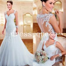 Charming Mermaid Wedding Dresses Illusion Back V-Neck Bridal Gowns Custom Made