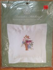 New listing Bucilla Anna Griffin Blossoming Basket Pillow Sham Crewel Embroidery Kit, New