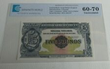 More details for britan armed forces £5 note uncirculated 1958 five pound graded ee1 292237