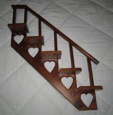 "Vintage Pine Wood Stair Step Knick Knack Wall Shelf~5 Tiers w/Banister! ""Hearts"""