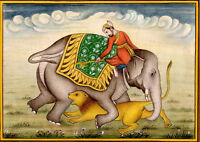 Mughal Emperor on Elephant hunting of lion Mughal Art Miniature Painting