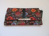 Tahari Trifold Wallet With RFID Blocking Protection Black Floral Multi NWT